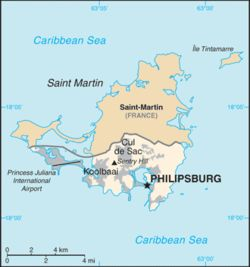 Sint Maarten is a constituent country of the Kingdom of the Netherlands. It encompasses the southern half of the Caribbean island of Saint Martin, while the northern half of the island constitutes the French overseas collectivity of Saint-Martin. Its capital is Philipsburg.