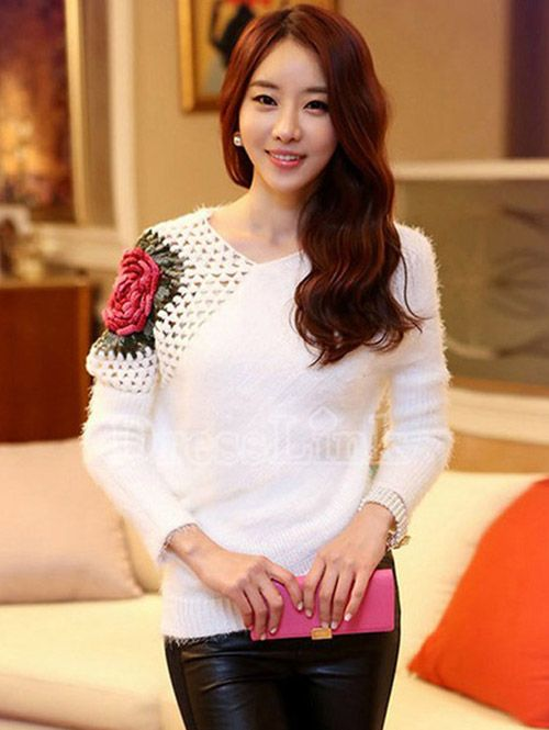 Hot sales Korean fashion round collar women sweaters YR-LC27535