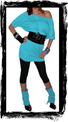 Love this aqua long shirt with belt the shoes not soo much