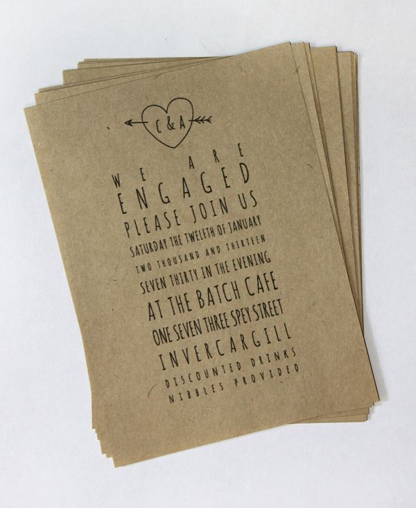 Get your rustic creativity on with these engagement party invites!