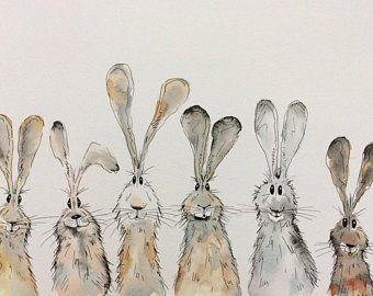 Charaktervolle Tierillustrationen von HaresAndHerdwicks auf Etsy  #charaktervolle #haresandherdwicks #paintingartideas #tierillustrationen