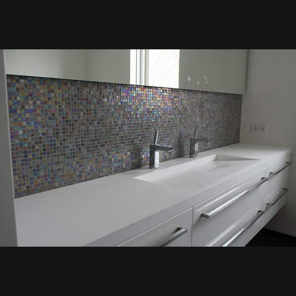 Design badkamermeubel 250cm corian blad kasten hooglans wit gespoten