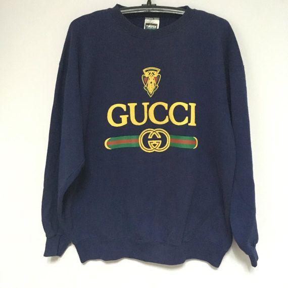Original True Vintage Gucci Sweater Shirt Navy Blue 90s size X-Large Asap Rocky Rihanna Kanye West Bootleg