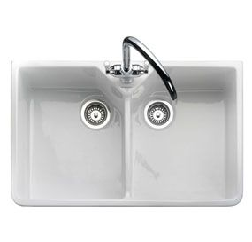 Franke Ceramic Kitchen Sinks UK - Franke Rangemaster Rustique Belfast Double Bowl Ceramic Sink - CDB800WH