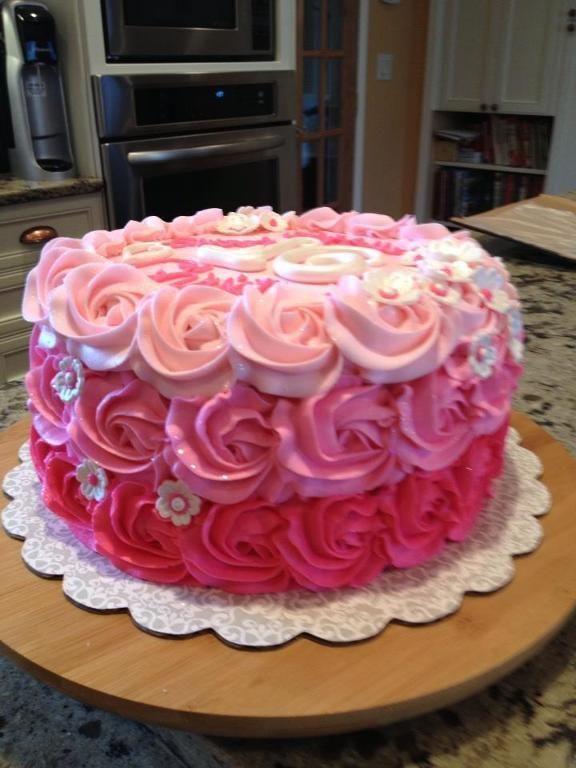 sweet 16 cakes for girls | Rosette Ombre Sweet 16 Birthday Cake