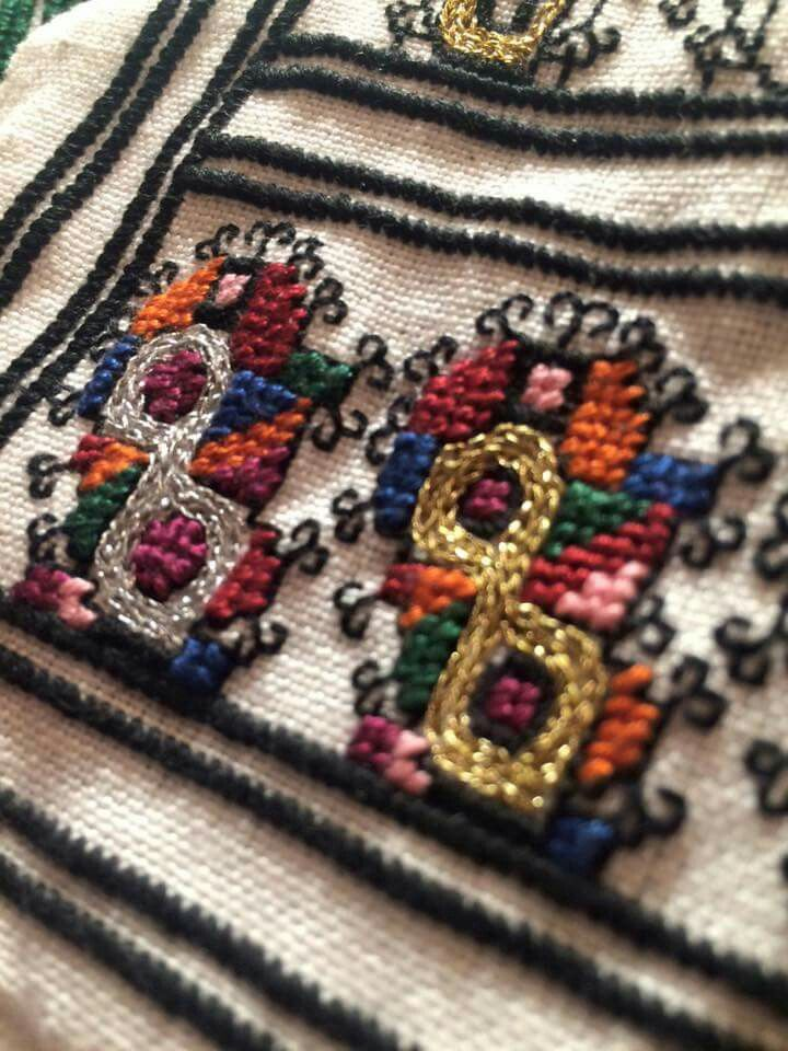 Romanian blouse embroidery detail/Bucovina