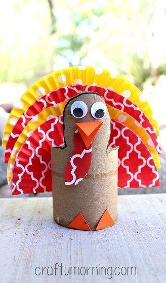Cupcake Liner Turkey Craft Using Cardboard Tubes - Crafty Morning by ophelia
