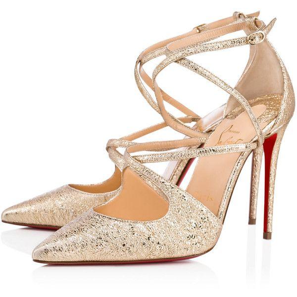 Christian Louboutin Crossfliketa ($895) ❤ liked on Polyvore featuring shoes, pumps, platine, metallic shoes, leather shoes, summer shoes, metallic leather pumps and christian louboutin pumps