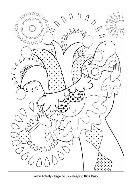 Mardi Gras jester colouring page - Carnaval kleurplaat