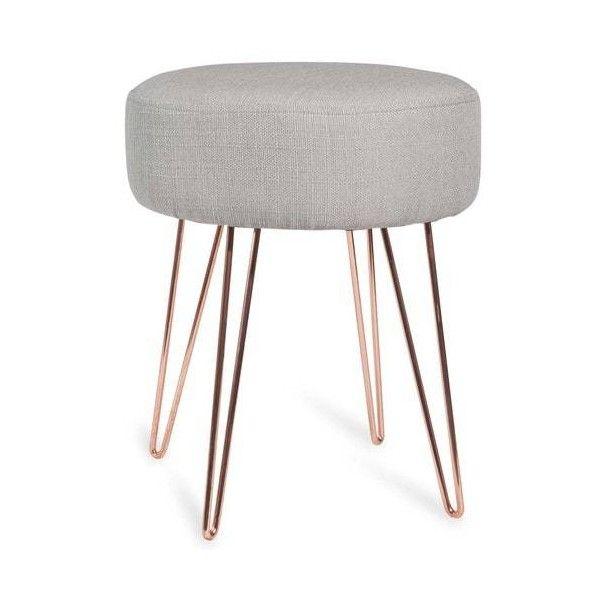 Kruk van grijze stof en koperkleurig metaal LULEA ($45) ❤ liked on Polyvore featuring upholstery furniture, grey stool, colored furniture, grey furniture and copper furniture