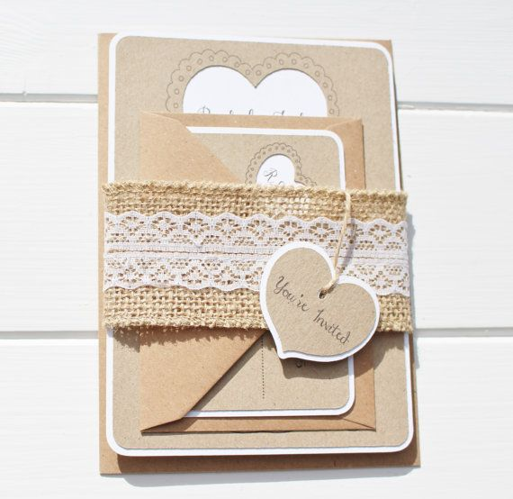 Burlap and Lace Wedding Invitation Rustic by ForestFernDesigns
