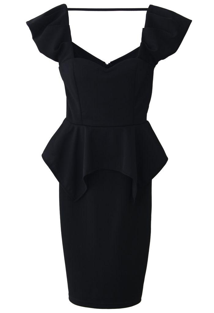 Black Peplum Prom Dress - Party - Dress - Retro, Indie and Unique Fashion