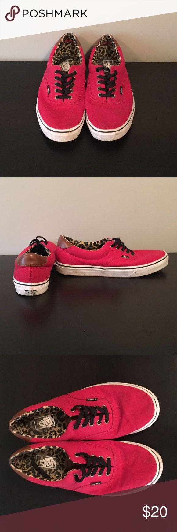 Red limited edition leopard print Vans Gently worn, limited edition inside leopard print Vans Shoes Sneakers