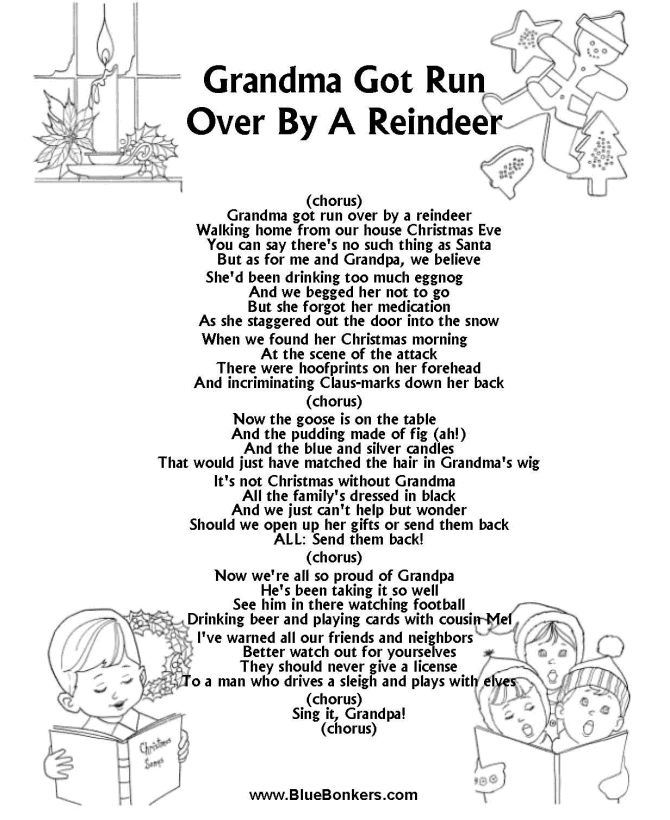 BlueBonkers: Grandma Got Run Over by a Reindeer Free Printable Christmas Carol Lyrics Sheets : Favorite Christmas Song Sheets