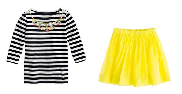 T-shirt navy con fiori e gonna gialla: il completo per le bimbe firmato J Crew