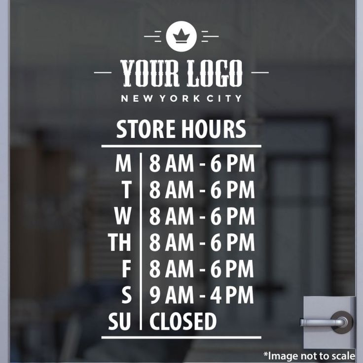 Open hours with logo style 17 window stickerswindow decalsvinyl decalsstore