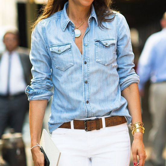 chambray shirts...love them in all shades of blue. perfect with the white jeans. love.