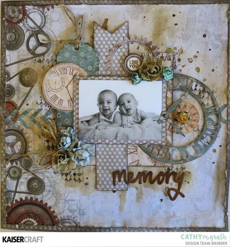 """Memory""  Layout by Cathy McGrath Design Team Member for Kaisercraft Official Blog. Featuring their New August 2017 'Factory 42' Collection. Learn more at kaisercraft.com.au ~ Wendy Schultz ~ Inspiring Creations."