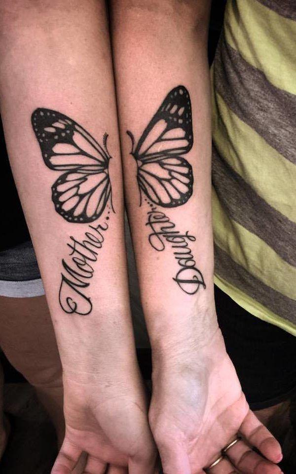 Wrist Mother Daughter Butterfly Tattoo Design Mother Daughter Butterfly Tattoos Butterfly Tattoos Crayon Tattoos For Daughters Mother Tattoos Mommy Daughter Tattoos