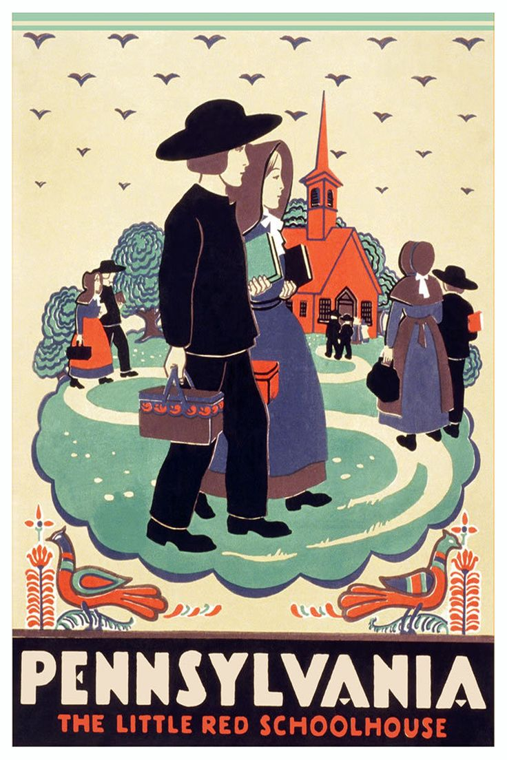 American Vintage Travel Posters: Pennsylvania (The little red Schoolhouse)