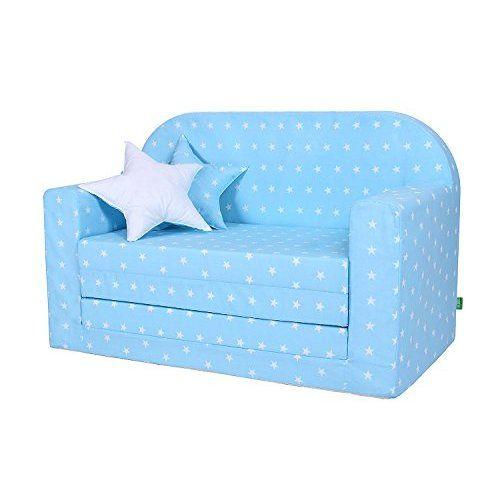 New LULANDO Classic Kindersofa Kindercouch Kindersessel Sofa Bettfunktion Kinderm bel zum Schlafen und Spielen Sternchen Grau