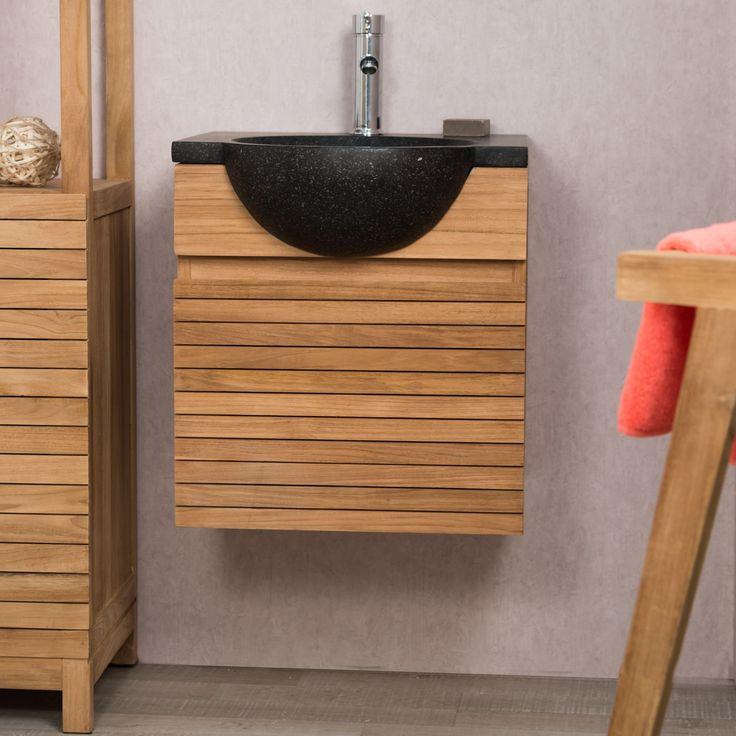 Ce meuble teck salle de bain suspendu s'intégrera parfaitement dans votre salle de bain. Le mélange de teck massif et de terrazzo lui confère un style très contemporain. C'est un bel espace de rangement, idéal pour vos petits espaces. Sous la vasque, vous pouvez ranger vos serviettes et autres accessoires. Vendu hors robinetterie Dimensions meuble Longueur : 50 cm Hauteur : 52 cm Profondeur : 40 cm Dimensions vasque Diamètre : 40 cm Longueur : 50 cm Hauteur : 12 cm Profondeur : 50 cm