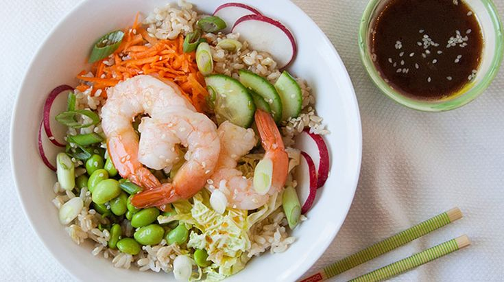 Bento Bowl | Everything you might find in a bento box: rice, vegetables, seafood or tofu & a tasty dressing.