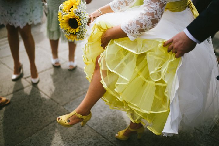 Colorful petticoat...Lauren and Adam's Yellow Wedding with a Candy Anthony Dress By Ed Godden Photography