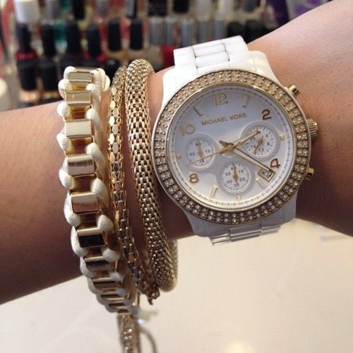 White Michael Kor Watch & Bracelets: Arm Candy, Fashion, Style, Michael Kors Watch, Jewelry, Accessories, Watches, Michaelkors