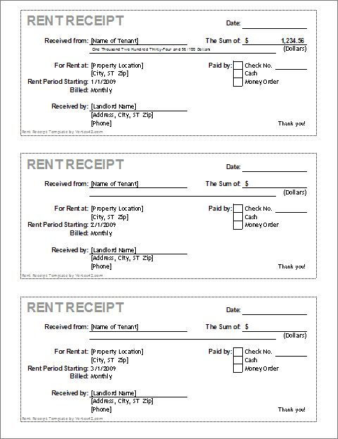Rent receipt template for excel Vertex42 #SampleResume #RentalReceipt
