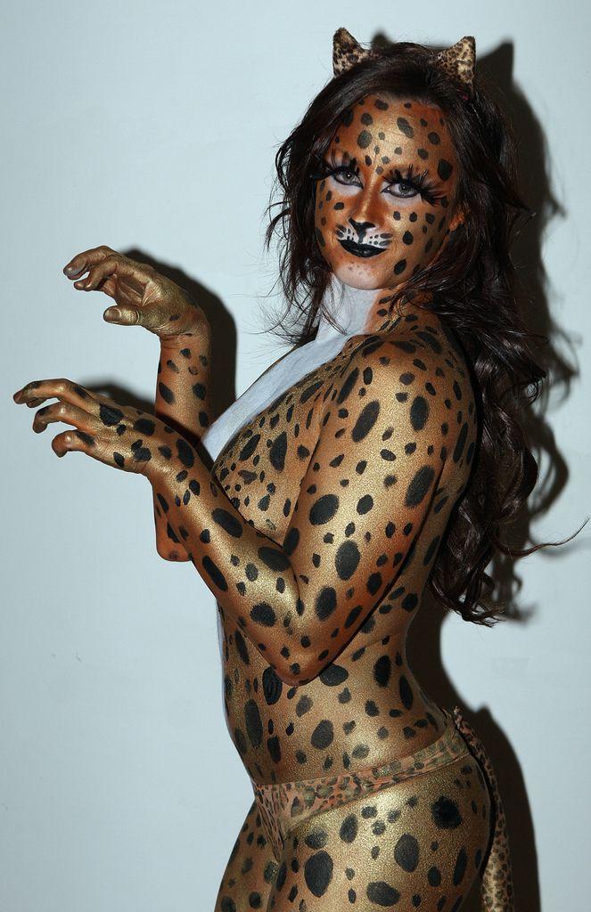 Hot Kandi Gold Body Painting Cheetah
