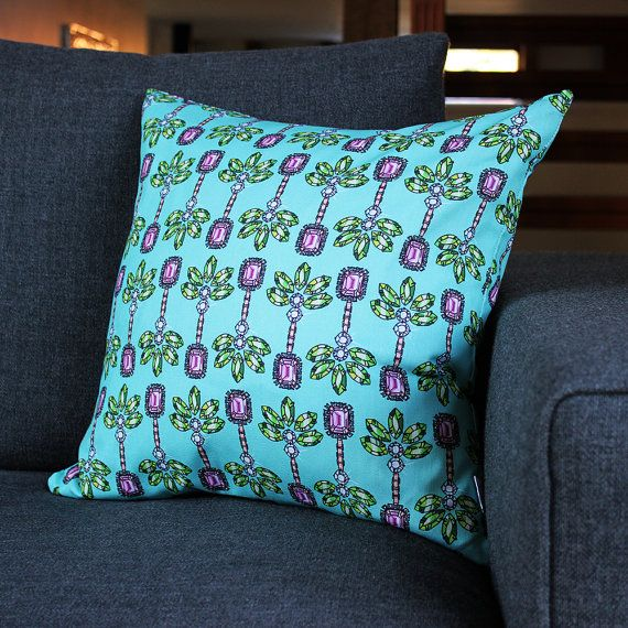 Palm Green Print Cushion by PerkyDeco on Etsy