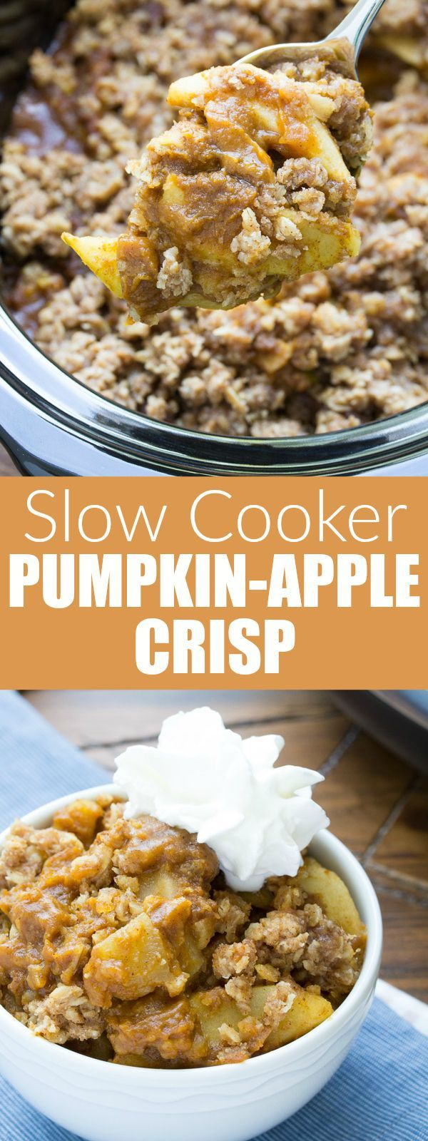 This Slow Cooker Pumpkin Apple Crisp is an easy dessert that's made completely in your crock pot! With juicy apples and a healthier pumpkin pie filling, it's like apple crisp and pumpkin pie in one. A perfect Thanksgiving dessert! | http://www.kristineskitchenblog.com