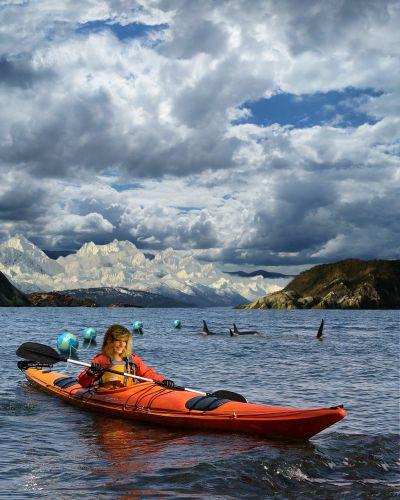"Stranahan, Beth. ""Young Woman, Kayak"". 2014. http://www.bethstranahan.com. Digital composite."