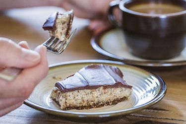Lusciously layered pear and chia slice