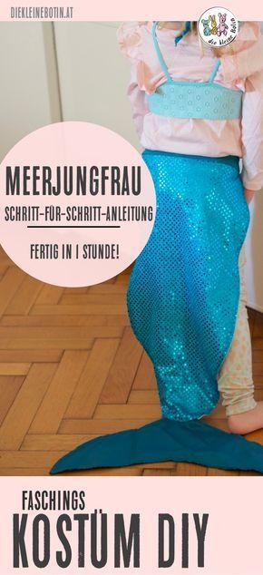 Kinder lieben Kostüme, sich verkleiden, in andere Rollen schlüpfen und ihre liebsten Helden nachspielen. Dieses Meerjungfrau-Kostüm ist in einer Stunde genäht und macht lange Freude! Ihr findet hier die komplette Anleitung! #diy