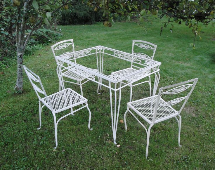 Vintage Wrought Iron Patio Set Part - 37: Vintage Wrought Iron Salterini Willow Table And By Thegraygarden