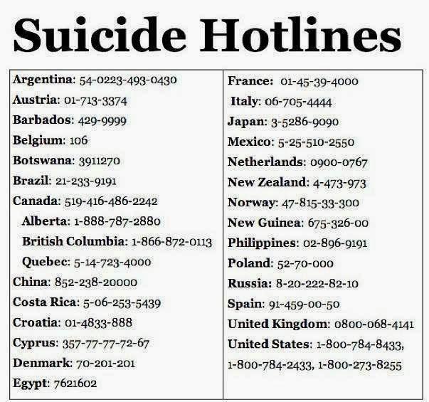 global suicide hotlines - depression page