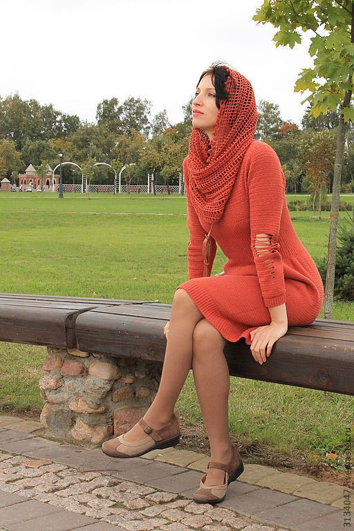 """Купить Платье """" Cентябрь"""" - рыжий, однотонный, авторская ручная работа, вязанное платье, терракотовый"""