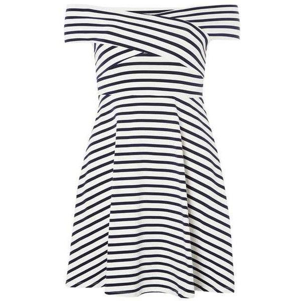 Petite Stripe Bardot Dress ($26) ❤ liked on Polyvore featuring dresses, striped, white day dress, striped dresses, petite dresses, white stripe dress and dorothy perkins dress