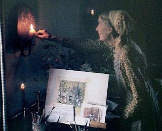 Tasha Tudor lives and works by candlelight