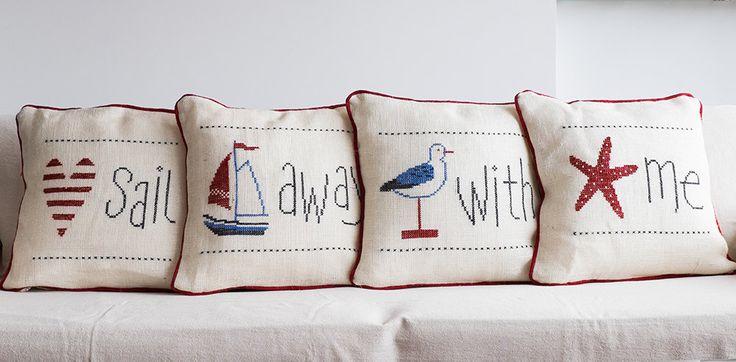 Summer House, Beach House Decorative Handmade Burlap Pillow Cover,Needle Point B…