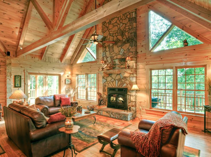 log cabin interior photo gallery lyons residence modified lexington - Log House Plans With Interior Photos