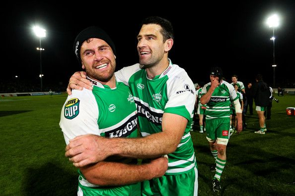Callum Gibbins Photos Photos - Callum Gibbins and Nick Crosswell of Manawatu celebrate after winning the ITM Cup Championship Final match between Manawatu and Hawke's Bay at FMG Stadium on October 24, 2014 in Palmerston North, New Zealand. - Manawatu v Hawke's Bay
