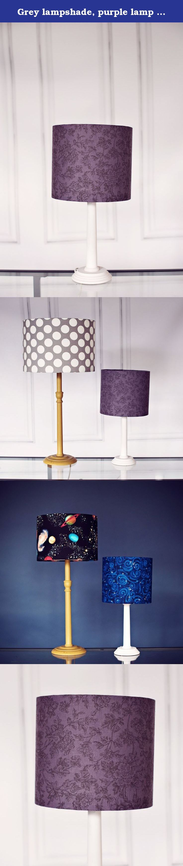 Grey lampshade, purple lamp shade, floral lampshade, drum lampshade, fabric lampshade, ceiling lampshade, grey floral lamp shade, gray lamp. The featured shade has a beautiful Grey/purple fabric with a grey floral pattern. This lampshade would be a wonderful addition to any room. The lamp shade is a beautiful style which will look complimentary with decor.br /> All of the lampshades are lovingly handmade in my studio in Manchester, UK. The lampshade pictured is 30cm / 12 inches diameter....