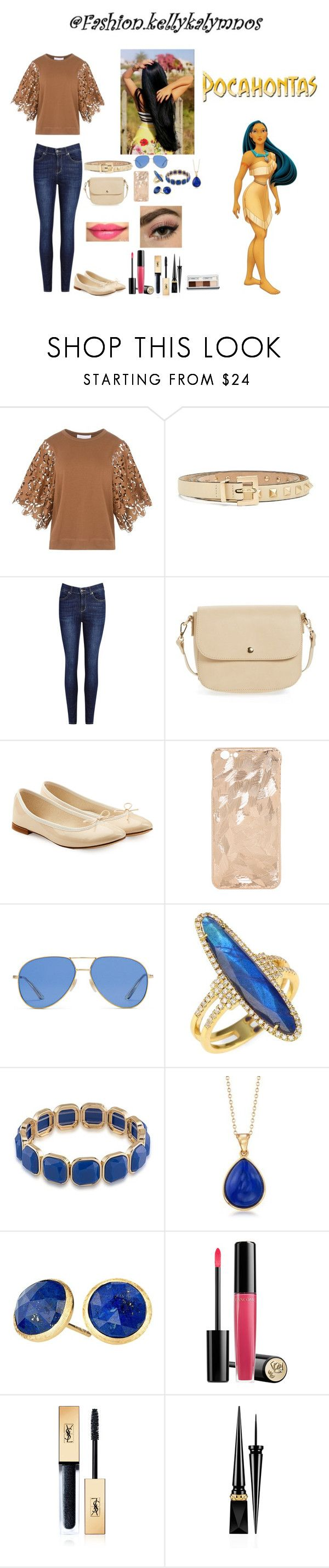 """""""Pocahontas as casual"""" by kellykalymnoskd on Polyvore featuring Disney, See by Chloé, Valentino, BP., Repetto, Gucci, Meira T, 1st & Gorgeous by Carolee, Ross-Simons and Marco Bicego"""