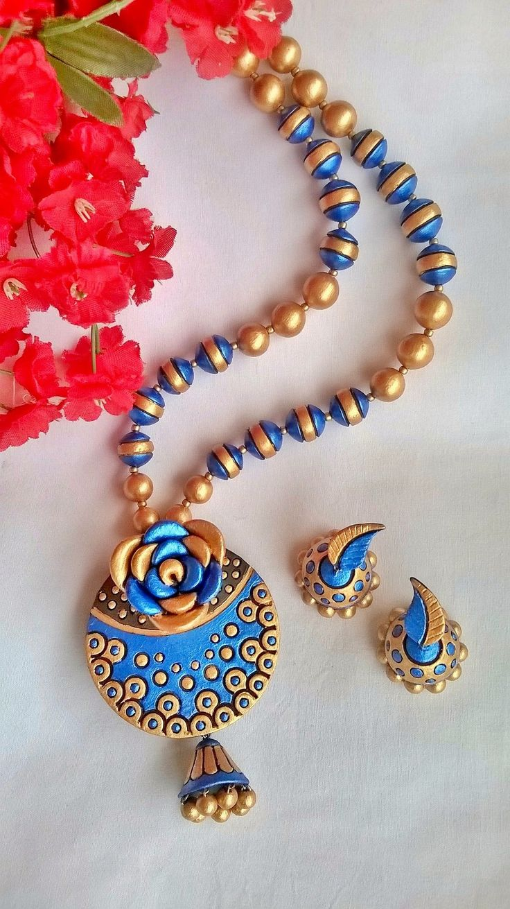 Blue Rose Terracotta Necklace and Ear-hangings set