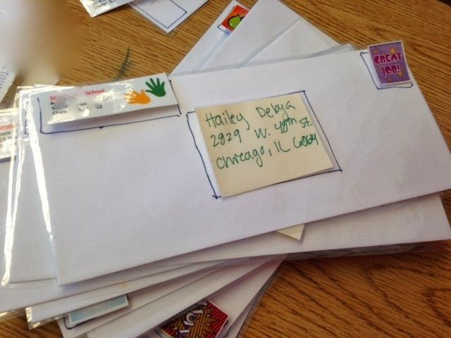 Envelope Labeling Work Task: address, return address, and stamp.