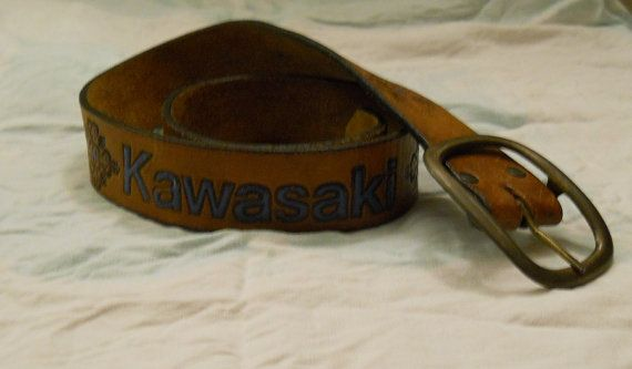 70's Kawasaki embossed leather belt 32 inches by StarfishandRose