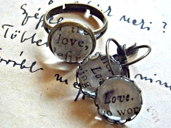 #love #jewelry #text #jewelryset #original #antique #paper from 1777, #wedding #engagement #statement #graduation #birthday #anniversary #gift #adjustable #ring and #dangle #dangling #earrings  jewelryagnes.etsy.com